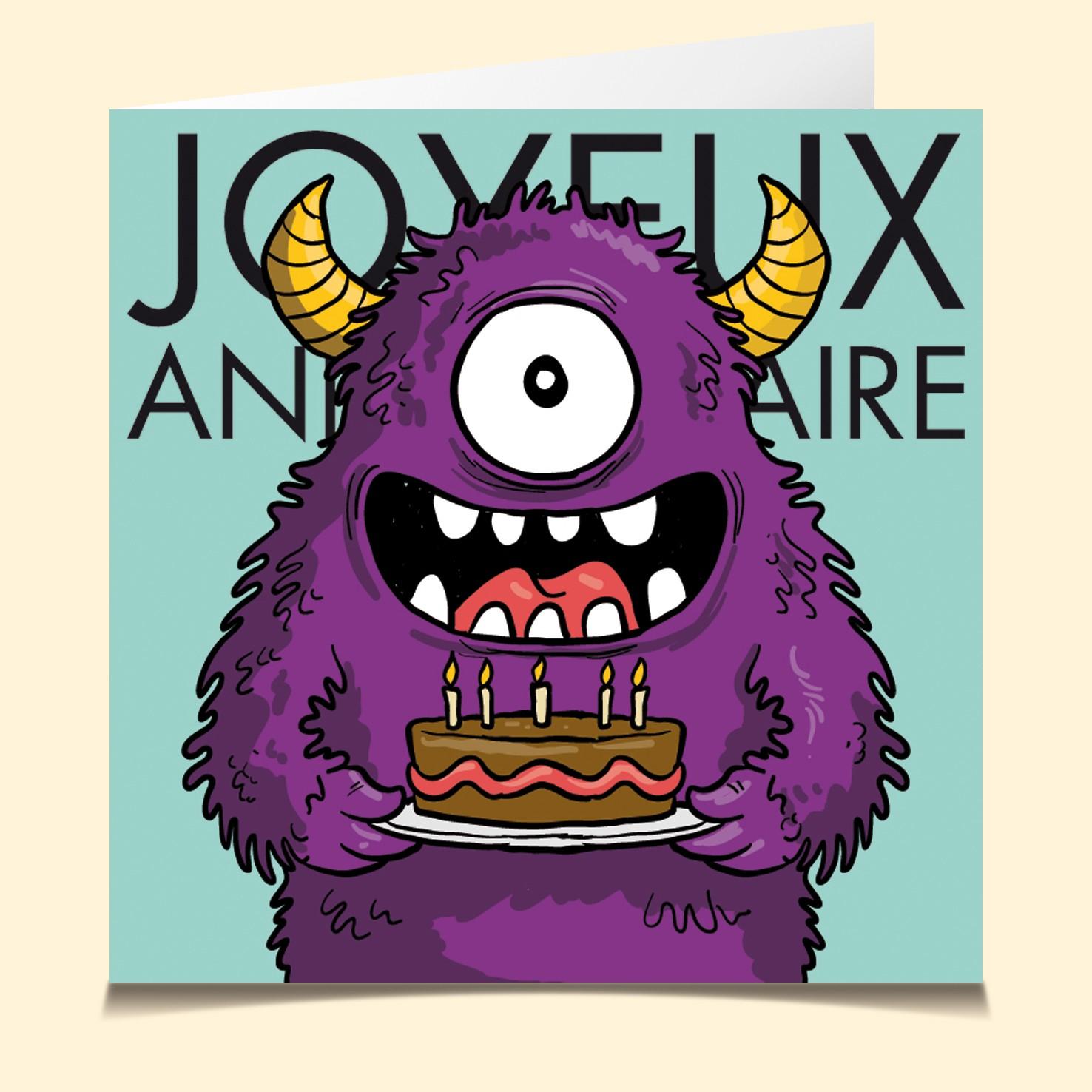 Carte Vocale Parlante Joyeux Anniversaire Monstre Gentil